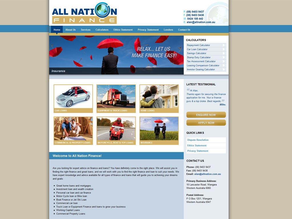 Perth Web Design by Star 3 Media: All Nation Finance