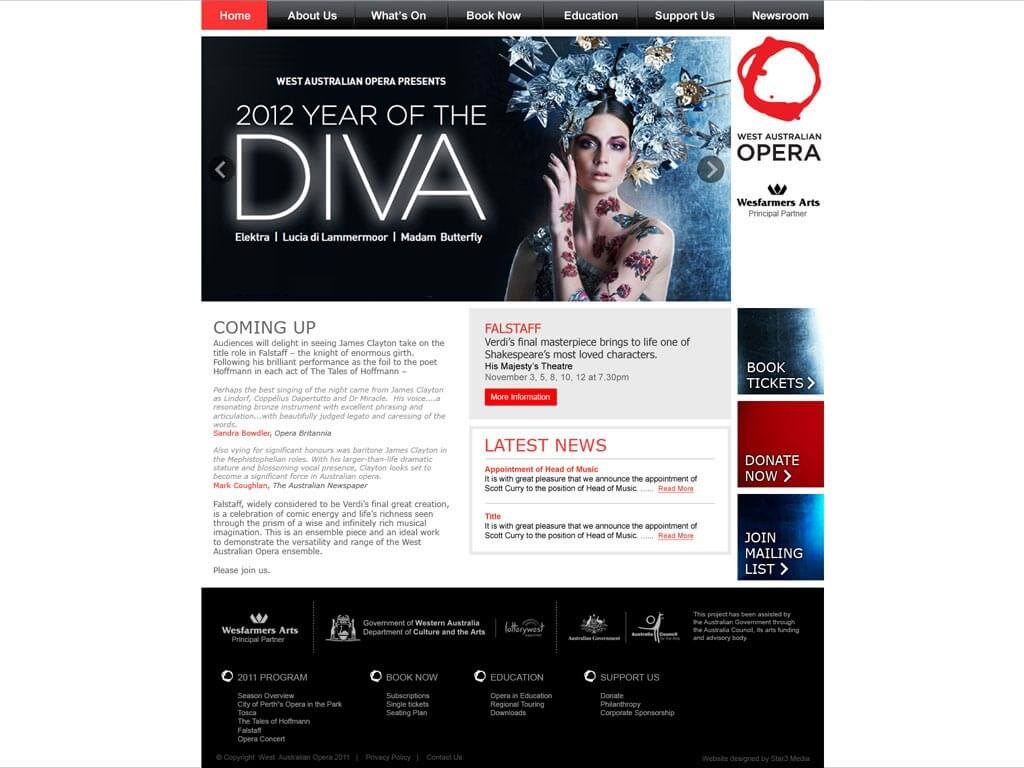 Perth Website Design by Star 3 Media: WA Opera