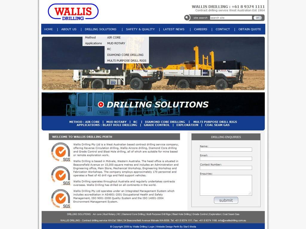 Perth Website Design by Star 3 Media: Wallis Drilling